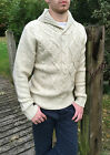 Mens Cable Knit High St Zara Jumper Large L Knitwear Shawl Cow Neck Cream Beige