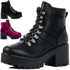 NEW WOMENS BLOCK HEEL CLEATED SOLE LACE UP PLATFORM ANKLE BOOTS SIZE 3 - 8
