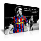 Lionel Messi Barcelona FC Quote Canvas