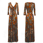 BOHEMIAN Rust & Blue Paisley MAXI DRESS Jersey Wrap LONG Skirt vtg BOHO S-M-L