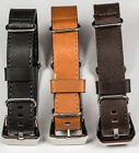 Leather Military Watch Strap Band NATO G10 18mm 20mm 22mm 24mm black brown tan