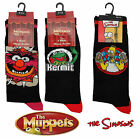 MENS SIMPSONS MUPPETS KERMIT NOVELTY CHARACTER BLACK ANKLE LONG SOCKS SIZE 6-11