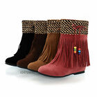 New Fashion Women's Med Heels Ankle Boots Tassels Shoes AU All Size Z402