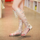 Womens Ladies Long Sandals Flats Low Heels Miss Gladiator Shoes Strappy Size
