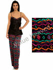 Ladies Satin Pyjamas Summer Black Multi Aztec Silky Cami PJ 10 12 14 16 18 20 22