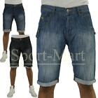 Mens Crosshatch Upfold Denim Faded Jeans Blue Summer Shorts Size