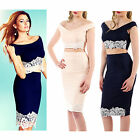 AM69 Ladies Floral Lace Off The Shoulder Crop Top Womens Midi Skirt Co-ord Set