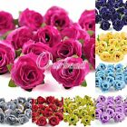 50pcs 30mm Artificial Small Tea Silk Beautiful Clips Bridal Wedding Flower Heads