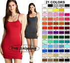 Внешний вид - Tank Top Cami Active Basic Long Layering Spaghetti Strap Mini Dress Tunic S M L