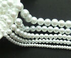 New Top Quality White Czech Glass Pearl Round White Loose Beads 4/6/8/10/12mm