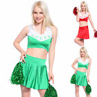 Sexy Crop Top Skirt High School Sport Athletic Cheerleader Outfit Costume Pompom