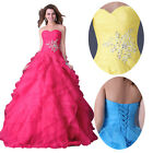 Sexy Strapless Long Bridal Party Ball Gown Evening Prom Wedding Masquerade Dress