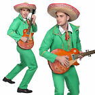 Men's Male Mexican Tortilla Guitarist Guitar Player Uniform Green Cosplay Dress