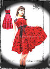 HELL BUNNY 5105 RED TATTOO PARTY DRESS goth prom swing 50s 8 10 12 14 16 S M L