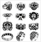 Skull Head  Punk Style Unisex Stainless Steel Thai Silver Toned Band Ring