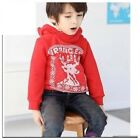 Newboys winter warm hooded pullover fleece jumper reindeer clothes size 1-5yrs