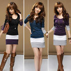1PC Womens Casual Long Sleeve Bodycon Stripe Cocktail Party Mini Dress Salable