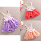Hot Elegent Rose Flower Chiffon Kids Girls Princess Party Sleeveless Dress 2-7Y