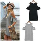 New Women's Summer Dress Off Shoulder Butterfly Sleeve T-shirt Tops Shirt Dress