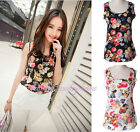 Women's Nice Summer Casual Chiffon Printing Vest Tops Sleeveless Shirt Blouse