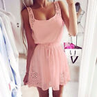 Summer Women Casual Dresses Sleeveless Cocktail Short Mini Dress Pink Reliable