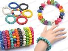 Fashion Charms Punk Rock Turquoise Sugar Skull beads Bracelet Elastic Wristband