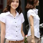 Sexy Womens Fitted Puff Sleeve Lapel Tops Button Down T-Shirt Blouse White Shirt