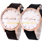 Men Women Casual Black Brown Leather Strap Band Date Analog Quartz Wrist Watch