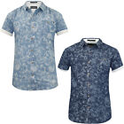 Mens Flowered Shirt Crosshatch Pure Cotton Lightweight Denim Short Sleeved Top
