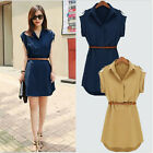 2015 Hot Fashion Women's Cap Sleeve Stretch Chiffon Casual OL Shirt Mini Dress