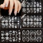 Women's White 3D Lace Flower Decal Stickers Nail Art Tip Manicure DIY Decoration