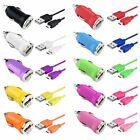 USB Mini Car DC Charger Adapter + 2in1 Micro USB Cable Cord For Cellphone
