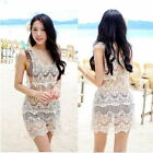 Women Lady Sexy Lace Crochet Sleeveless Swimwear Bikini Cover Up Beach Dress