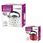 3.5L POLKA DOT STAINLESS STEEL LIGHTWEIGHT WHISTLING KETTLE CAMPING FISHING NEW