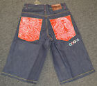COOGI Men's BLUE Denim Jean Shorts NWT RED POCKET LADY HEAD Design $125 RETAIL