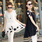 Summer Fashion Women Lady Plus Size Loose Chiffon Top Short Sleeve Casual Dress