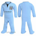 Manchester City MCFC Baby Football Sleepsuit Babies All In One Babygrow Playsuit