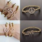 New Crystal Gold Love Cross Bright Infinity Inlay Stretch Beaded Bracelet Gifts