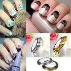 10X Rolls Gold & Silver Nail Tape Stickers Stripes Liner Art Tips DIY Decoration