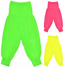 Girls Harem Pants Kids Neon Yellow Pink Dance Costume Trousers Age 7 - 13 Years