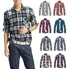 Unisex Long Sleeve Fashion Button-Front Blouse Mens Check Shirt