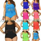Sexy PLUS SIZE Women Retro Fringe Top High Waisted Bikini Swimwear Swimsuit