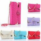 Luxury Hand Strap Leather Crystal Stand Wallet Case Cover for Samsung Galaxy S6