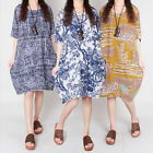 Retro Women Lady Crewneck Linen Plus Size Loose Floral Printed 1/2 Sleeve Dress