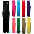 Womens Full Length Jersey Maxi Dress Ladies Plain Colour Racer Back Muscle Dress