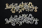 1 pcs Costume Dress Applique Pearls Crystal Rhinestone Sewing On D2379
