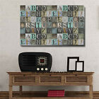 Abstract Alphabets Stretched Canvas Print Framed Wall Art Decor Vintage Painting