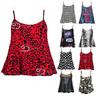 AN75 Womens Ladies Printed Cami Sleeveless Strappy Flared Swing Vest Top