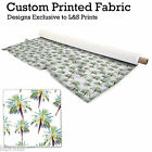 PALM TREES DESIGN FABRIC LYCRA SPANDEX ALOBA POLYESTER SATIN L&S PRINTS
