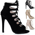 WOMENS LADIES STILETTO HEEL CUT OUT LACE UP PEEP TOE ZIP SANDAL SHOES SIZE 3-8